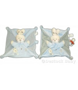 LOT - 2 x Doudou LaPIN plat bleu aBC attache sucette rayé marron NICOTOY