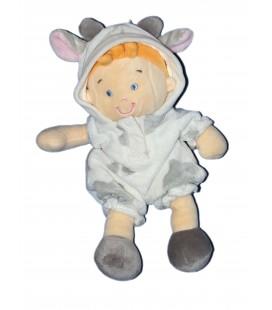 Doudou Garçon déguisé en vache - Taches grises - NICOTOY - H 25 cm