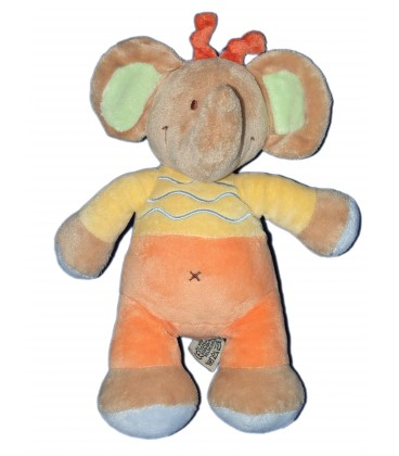 Doudou ELEPHANT jaune orange beige - NICOTOY - 24 cm