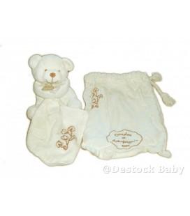 DOUDOU ET COMPaGNIE - OURS bio avec Mouchoir et sac en tissu - 14 cm