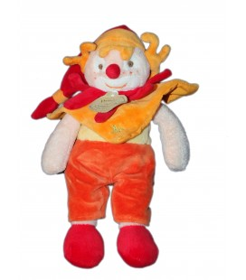 DOUDOU ET COMPaGNIE - CLOWN Do Ré Mi - Orange rouge jaune - Mouchoir - 22 cm