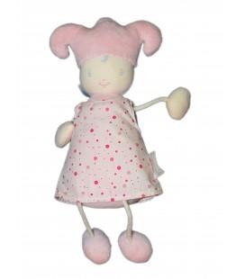 Poupée Doudou lutin COROLLE - Robe rose - Grelot - 28 cm 2003