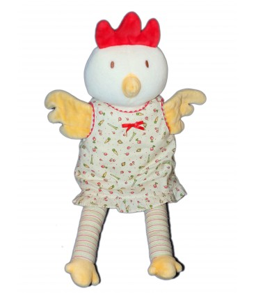 Poupée tissu chiffon Manteau Doudou peluche Poule robe - COROLLE 2002 - H 40 cm - Grelot- COROLLE 2009 - H 26 cm - 7422