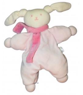 Doudou LAPIN rose Echarpe - COROLLE 2004 - H 40 cm - Grelot **Taché**