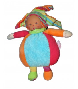 Poupée Doudou Clown bleu rouge orange COROLLE - Robe rose pois - Grelot - 24 cm 2007