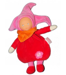 Poupée Doudou Lutin rouge rose orange Foulard - COROLLE - Grelot - 25 cm 2004 - Fleur