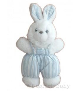 Doudou LaPIN Blanc bleu salopette rayures - 27 cm + oreiles TaRTINE ET CHOCOLaT