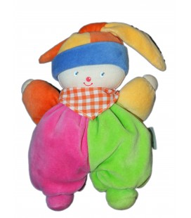 Doudou Lutin CLOWN vert rose Foulard orange vichy - COROLLE - H 20 cm - Grelot