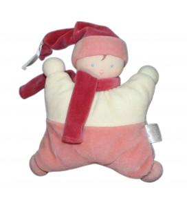 Doudou coussin semi-plat LUTIN rose - Grelot - COROLLE 2003