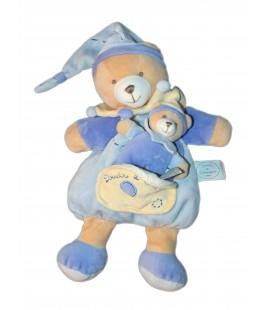 DOUDOU ET COMPAGNIE - OURS Léo Leo avec son bébé - Poche - Bleu beige