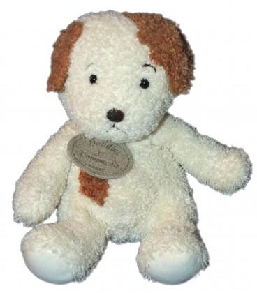 DOUDOU ET COMPAGNIE - CHIEN blanc marron - 17 cm assis