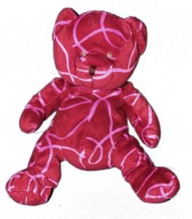 Peluche doudou OURS rouge rose NOCIBE 2006