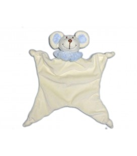 Doudou plat SOURIS blanche bleue BaMBIa Liddl 4 noeuds
