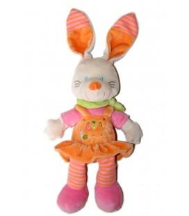 Doudou Nicotoy lapin orange robe carottes jardin jambes rayes 28 cm foulard vert