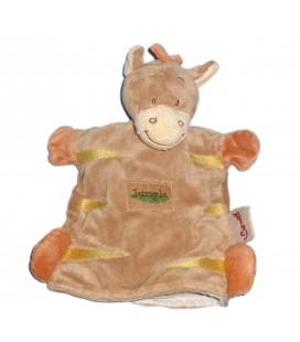 Doudou marionnette Zèbre cheval Poney beige orange - BENGY Amtoys