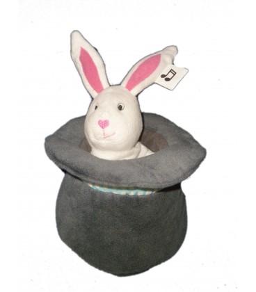 Peluche Doudou Musical Lapin blanc Chapeau Gris - IKEA - H 18 cm