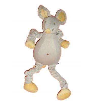 Doudou peluche SOURIS Musicale grise jaune - SUCRE D'ORGE - H 36 cm