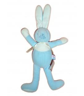 Doudou peluche LAPIN bleu - SUCRE D'ORGE - H 32 cm