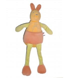 Doudou peluche KANGOUROU jaune vert rose - SUCRE D'ORGE - H 34 cm