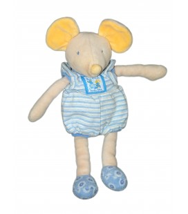 Doudou peluche SOURIS bleue jaune Lise et Lulu - MOULIN ROTY - H 30 cm