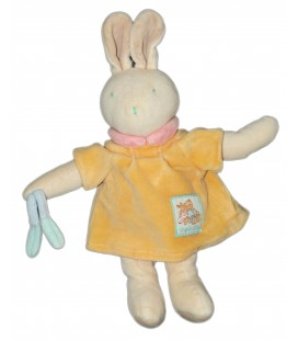 Doudou LAPIN beige clair blanc jaune - MOULIN ROTY - H 28 cm - Grelot