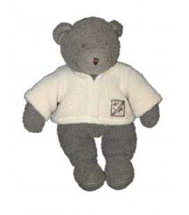 Doudou LAPIN beige clair blanc Doudou Peluche OURS gris Théophile - MOULIN ROTY - H 34 cm- MOULIN ROTY - H 28 cm - Grelot