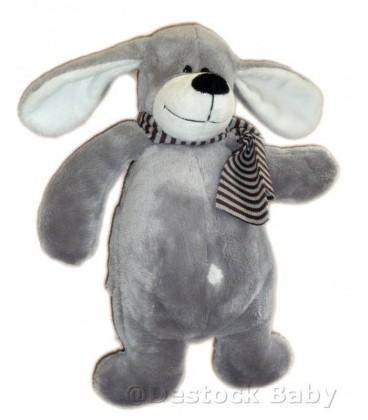 Doudou chien gris blanc - Echarpe rayee - 27 cm - TCF TOUT COMPTE FAIT