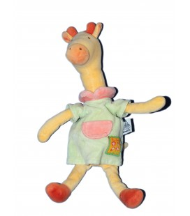 Doudou Girafe jaune - Robe Verte - Les Loustics - MOULIN ROTY - H 30 cm