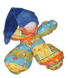 Doudou Lutin Poupée Bonnte bleu Tissu jaune fleurs - MOULIN ROTY - H 25 cm - Vite un câlin - Grelot