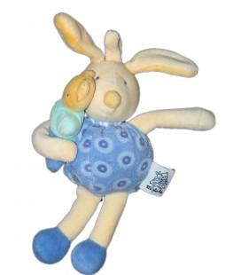 Doudou Lapin bleu jaune et son doudou - Grelot - MOULIN ROTY - H 20 cm
