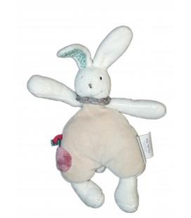 Doudou lapin gris grelot Moulin Roty 20 cm + oreilles