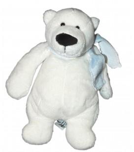 Peluche Doudou OURS blanc polaire - Echarpe bleue - LASCAR - H 20 cm