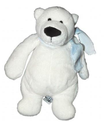 Peluche Doudou OURS blanc - Echarpe bleue - LASCAR - H 20 cm