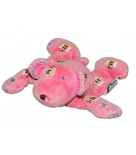 JELLYCAT - Petit doudou chien ours rose allongé - 18 cm - Abeilles fleurs brodées