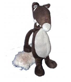 Doudou peluche Loup Auzou Brun gris - 28 cm