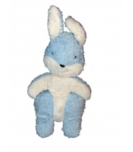 VINTAGE - Doudou peluche LAPIN bleu blanc BOULGOM H 28 cm