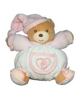 KALOO - Doudou OURS boule blanc Bonnet rose Coeur - Grelot - 17 cm