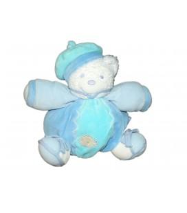 KALOO - Doudou OURS boule blanc bleu - Bonnet marin Poisson - H 16 cm