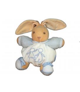 KALOO - Doudou LAPIN boule blanc bleu - Bonhommes brodés - H 16 cm - Tâché ** Voir description **