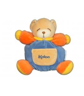 KALOO - Doudou OURS bleu orange - Poche beige - H 16 cm