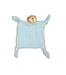 KALOO - Doudou plat OURS dormeur bleu - Yeux fermés - 4 noeuds