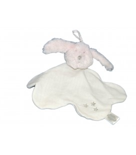 Doudou plat LAPIN Rose et tissu blanc ABSORBA - Etoiles brodées