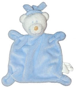 Doudou plat OURS bleu Cartoon club