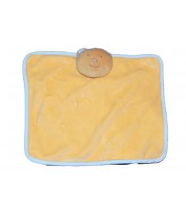 Doudou plat OURS orange saumon abricot bleu - TEX Carrefour - 20 x 24 cm