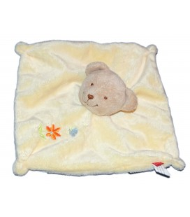 Doudou plat OURS jaune - TEX - Carrefour Fleur orange 7666