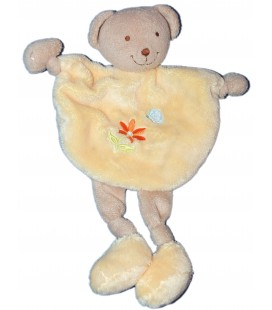 Doudou plat Ours jaune- Tex Carrefour Fleur orange