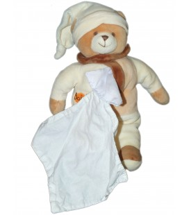 Doudou OURS marron beige Mouchoir blanc - BABY NAT - H 26 cm