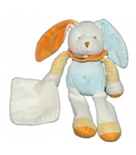 Doudou LAPIN blanc bleu orange Mouchoir Grelot - BABY NAT - H 25 cm