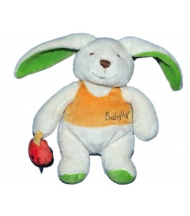 Doudou LAPIN blanc orange vert Coccinelle - BABY NAT