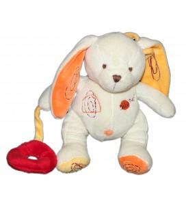 Doudou LAPIN blanc - Rond Hochet rouge - BABY NAT